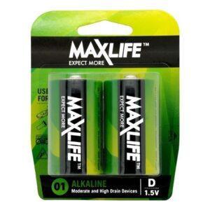 MAXLIFE D Alkaline Battery 2 Pack
