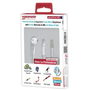 PROMATE Premium Universal Ergonomi white colour Earphones